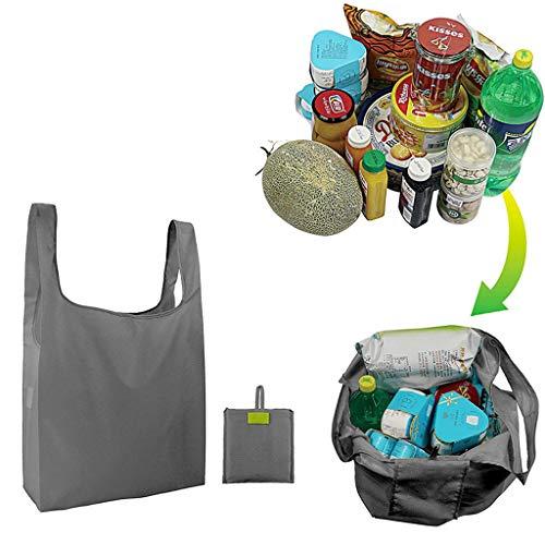 Deng Xuna Wiederverwendbar Lebensmittel Einkaufstasche, Umweltfreundliche Faltbare Leichte Aufbewahrungstaschen Langlebige Recycling Handtasche Reisetasche, Große Kapazität, Maschinenwaschbar (Grau)
