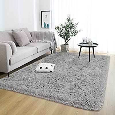 Rostyle Super Soft Fluffy Area Rugs for Bedroom Living Room Shaggy Floor Carpets Shag Christmas Rug for Girls Boys Furry Home Decorative Rugs, 4 ft x 6 ft, Grey