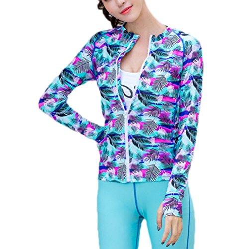 Vrouwen Jas Een Stuk Multi kleuren Lange Mouw Sneldrogende Wetsuit Zip-up Zonnebescherming Jas Badpak Strand Badpak Zwemkleding voor Zwemmen Surfen - Maat 2XL (Multi kleuren)