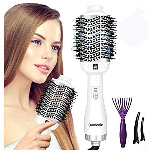 Damenie Haartrockner 5 IN 1 Multifunktions Hair Dryer & Volumizer Heißluftbürste Negativer Lonic Föhnbürste Glatthaarbürste Lockenwickler Stylingbürsten für Alle Styling(Weiß Silber)