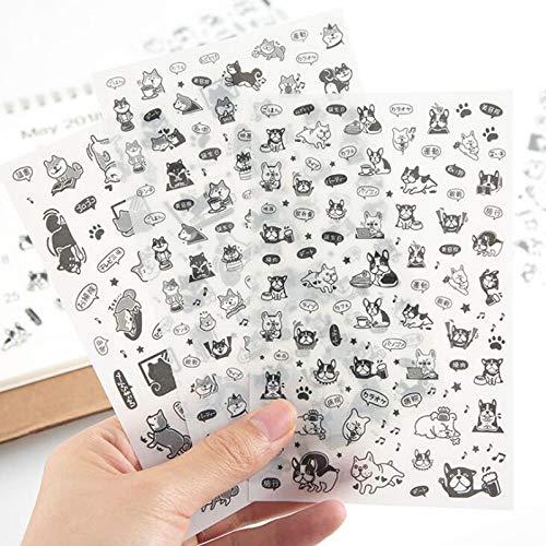 JIAQI Kawaii Diario Pegatina Transparente Mascota Perro Creativo Estudiante papelería decoración de Dibujos Animados DIY Diario Conjunto Regalo Pegatina 6 pc/Bolsa