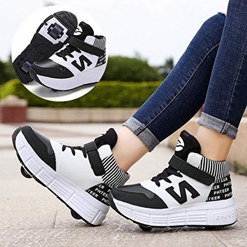 GWYX Jungen Mädchen Schuhe Mit Rollen Rollschuhe Sport Sneaker Wanderschuhe Versenkbare Technische Skateboardschuhe,Black-38
