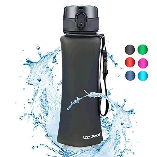 UZSPACE Trinkflasche Auslaufsicher |350 ml && 500 ml| BPA-frei -Triten Flasche.Geeignete Sportflasche durch Wasserdurchfluss-Deckel mit klick öffnen für Kinder,Fahrrad,Yoga,Gym,Camping,Uni Life.