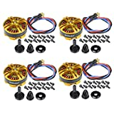 QWinOut 4108 580KV Multiaxial Brushless Motor 3-6S Multi Rotor Disc Brushless Motor Pull-2000 g para RC DIY Quadcopters Multicopters Drone, Tarot FY690S 680PRO (4 unidades)