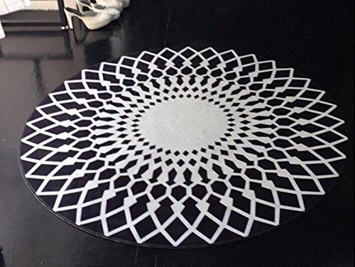 Mode simple / tapis rond noir et blanc, tapis de salon, tapis chambre / bureau / salon, tapis antidérapant (160cm, black)