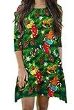 Elosele Womens 3/4 Sleeves Christmas Tree Print Flared Swing Dress (Apparel)