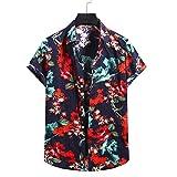 YSYOkow Camisa de manga corta para hombre, diseño floral hawaiano, con botones y estampado floral