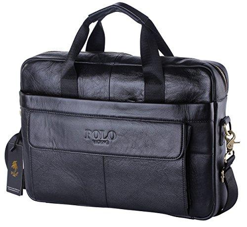 POLO VIDENG Borsa a Tracolla Portatile in Vera Pelle con Custodia per Laptop per MacBook 14VCP-Nero