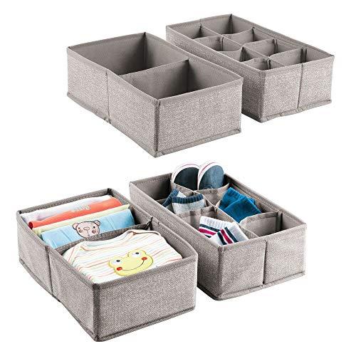 mDesign Juego de 4 cajas de tela para accesorios de bebé – Cajas organizadoras con 2 y 8 divisiones para la habitación infantil – Cestas de tela para ropa, juguetes, calcetines, etc. - Gris