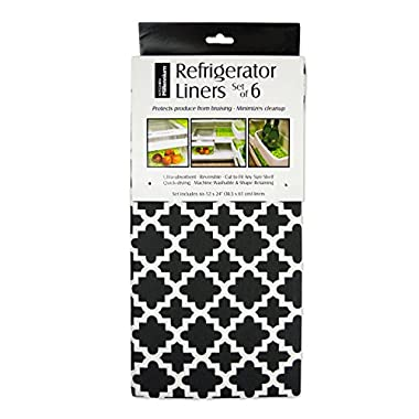 DII Non Adhesive Cut to Fit Machine Washable Fridge Liner For Drawers, Bins, Trays, Protect Produce, Set of 6, 12 x 24  - Black Lattice
