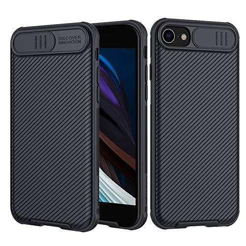 Hülle für iPhone SE 2020/ iPhone 8/ iPhone 7, [CamShield] Kameraschutz Case, Thin Fit Slide Handyhülle mit Anti-Rutsch Stoßfest Kratzfest PC Bumper Hybrid Modischen Schutzhülle - Schwarz