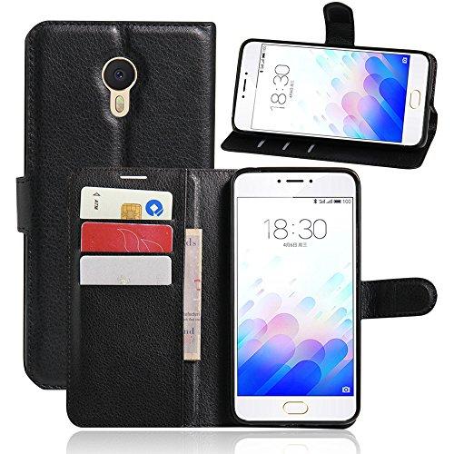 Kihying Pelle Case per Meizu M3 Note/Note 3 Cover Custodia Portafoglio a Fogli mobili Staffa e Slot per schede (Nero - JFC02)