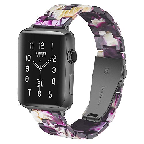 Correa de repuesto para reloj Apple de 38 a 40 mm, 42 a 44 mm, serie 5/4/3/2/1, de resina, fina, 42 a 44 mm, color morado brillante