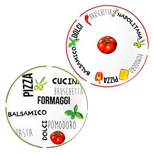 MamboCat 2er Set Pizzateller Tomate | Weiß mit Dekor I Grün & Rot I Ø 31cm - groß I Teller mit schönen Motiven & Schriftzügen I für Pizzen oder zum Anrichten