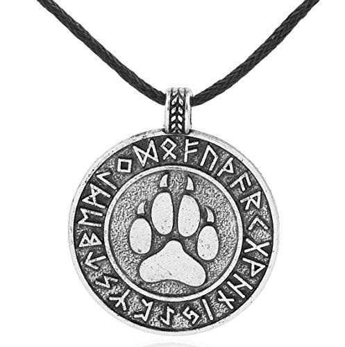 EUEAVAN Runic Bear Paw Print Amulet Pendant Necklace 24 Nordic Viking Runes Alloy Talisman Jewelry