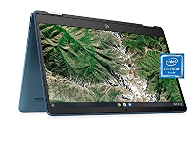 """Laptop HP X360 14a Chromebook 14"""" HD Touchscreen, Entertaining from Any Angle Intel Celeron, 4GB DDR4 64GB eMMC WiFi Webcam Stereo Speakers Bluetooth 4.2 Chrome Blue Metallic Color (Renewed)"""