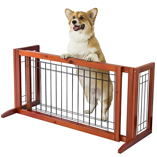 Best Choice Products Freestanding Adjustable Pet Dog Gate Fence for House, Home, Indoor Spaces 40in to 71in Wide - Brown