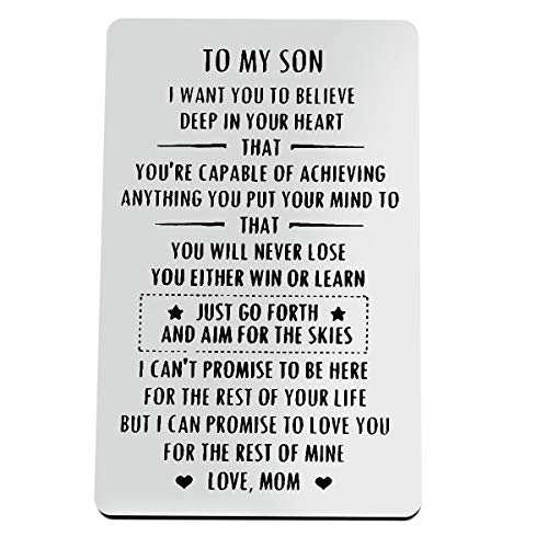Inspirational Gifts for Son from Mom To My Son Motivational Gift Engraved Metal Wallet Inserts Encouragement Gifts for Son Birthday Card Christmas Graduation Gifts Inspirational Card Gifts for Boy