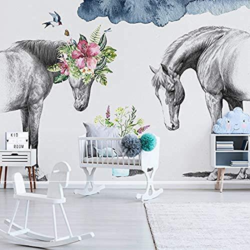XHXI Murales creativos nórdicos 3D Floral blanco y negro pareja caballo TV sofá pared dormitorio cabecera DIY Pared Pintado Papel tapiz Decoración dormitorio Fotomural sala sofá mural-350cm×256cm
