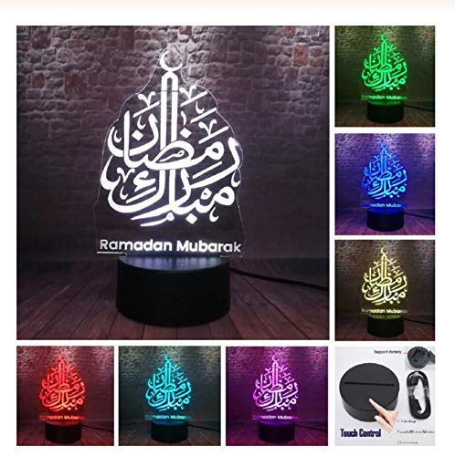 Ramadan Mubarak Islam Church 7 Color 3D Lights for Eid al-Fitr Party Decorations for Believers