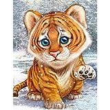 Lazodaer Kit de pintura de diamante 5D por número, kit de pintura de diamante para adultos y principiantes, para decoración del hogar, tigre de 30 x 39,9 cm