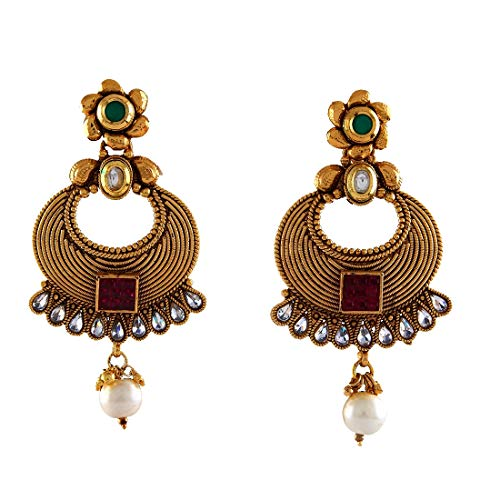 JewelryGift Beautiful Chandbali Pearl Drop Earrings 18K Gold Plated Emerald, Ruby Traditional Fashion Jewellery for Girls Ladies MYE 62-MULTI