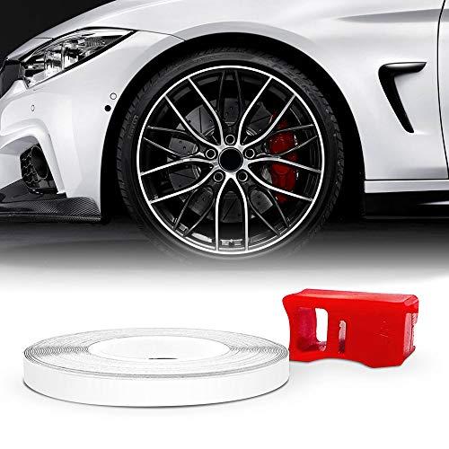 4R Quattroerre.it 10350 Wheel Trim Strisce Adesive Rifrangenti con Applicatore per Cerchi Auto, Bianco, 5 Mm X 6 Metri, mt
