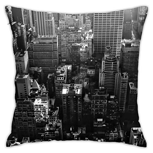 QUEMIN Fodere per Cuscini Fodere per Cuscini in Bianco e Nero di New York City Fodera per Cuscino Moderna Fodera per Cuscino Quadrata Decorazione Divano Letto Sedia Auto 45x45 cm