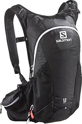 Salomon, Leichter Trail-Running Rucksack 12 L, 45 x 22,5 x 13,5 cm, AGILE 12 SET, Schwarz (Black/Iron/White), L37375100