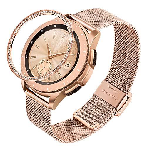 TRUMiRR Reemplazo para Samsung Galaxy Watch 42mm Oro Rosa Correa+Anillo de Bisel, 20mm Banda de Reloj de Acero Inoxidable de Malla Tejida Correa de liberación rápida para Samsung Galaxy Watch 42mm