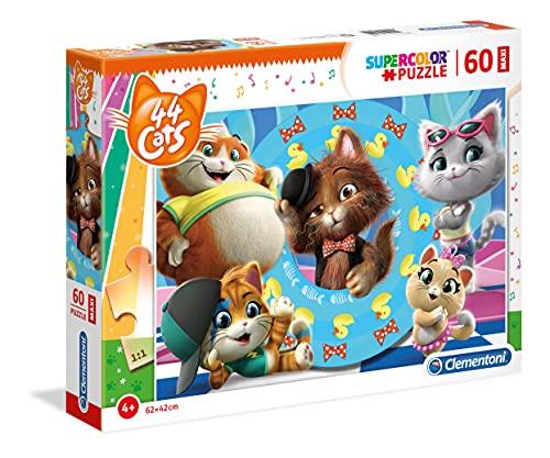 Clementoni-44 Gatti Puzzle, Multicolore, 60 Pezzi Maxi, 26441