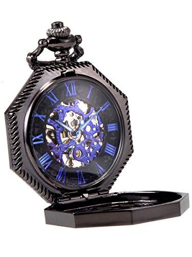 Alienwork Herren Damen mechanische Taschenuhr Handaufzug schwarz mit blau Skelett Retro