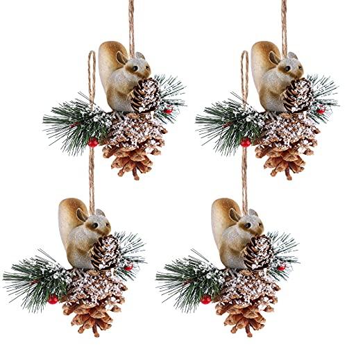 4 piezas colgante de ardilla navideña con Conos de pino de Navidad Decoración navideña de conos de pino Adornos para colgar árboles de Navidad Colgante de Navidad para Navidad