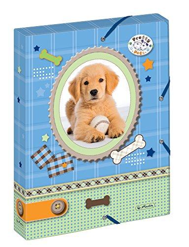 Herlitz 10530012 Heftbox A4 mit 2 Gummizügen, Pretty Pets Hund, Rückenbreite 4 cm