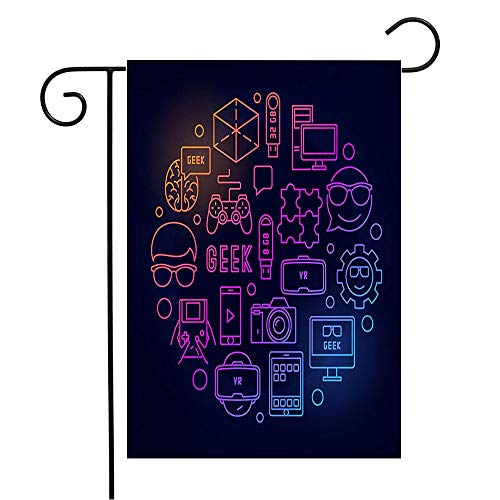 Anmbsk Garden Flag Welcome Flag Round Color Gamepad Geek Computer Thin Signs Business Camera Symbols Simple Puzzle Miscellaneous 12x18 Inch Yard Flag Farmhouse Spring Summer Home House Lawn Decor