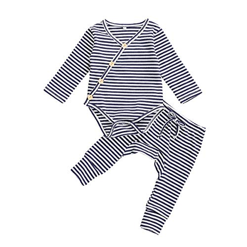 Argorgeous Newborn Baby Pajamas Kimono Onesie Long Sleeve Pants Toddler Ribbed Outfits Fall Clothes (Z-Royal Blue White, 0-3 Months)