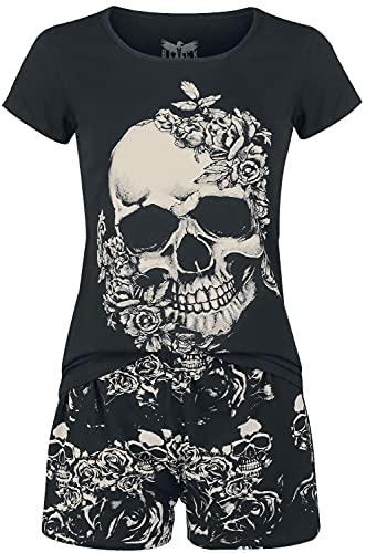 Black Premium by EMP Roses and Skullls Mujer Pijama Negro S, 95% algodón, 5% elastán,