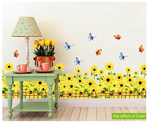 Cooqitu Margerite, muursticker van vinyl, om zelf te maken, bloemen, wandsticker, voor huis, woonkamer, glas, ramen, decoratie