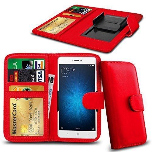 N4U Online Various Farben Clip auf Serie Kunstleder Brieftasche Hülle für Nokia Lumia 730 Dual SIM - Rot