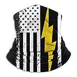 American Flag Lightning Bolt Electrician Bandana Face Mask for Men Women Neck Gaiter Scarf Dust Wind Balaclava Headwear
