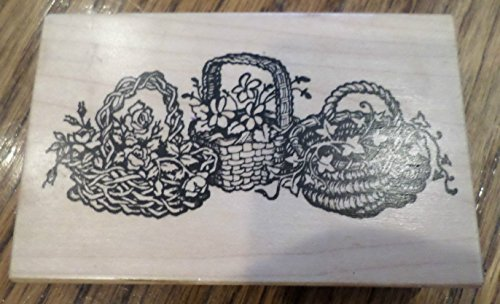 Three Wicker Garden Baskets With Flowers Leaves Rubber Stamp Psx G-1304