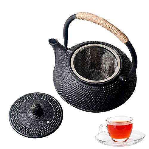 Sharemee Meilleure théière Japonaise en Fonte avec infuseur pour thé et sachets de thé en Vrac, Bouilloire et théière pour cuisinière, 650ml/23oz