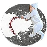 洗濯機で洗えるラウンドエリアラグ屋内ウルトラソフトベッドルームフロアソファリビングルーム寮小さな円形カーペット2.6フィート、スポーツクールベースボール