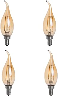 HERO-LED CA10-DSGT-2W-WW22 Dimmable Gold Tint CA10 E12 2W Candelabra Style LED Filament Chandelier Light Candle Bulb, 25W Equivalent, Ultra Warm White 2200K (Amber Glow), 4-Pack