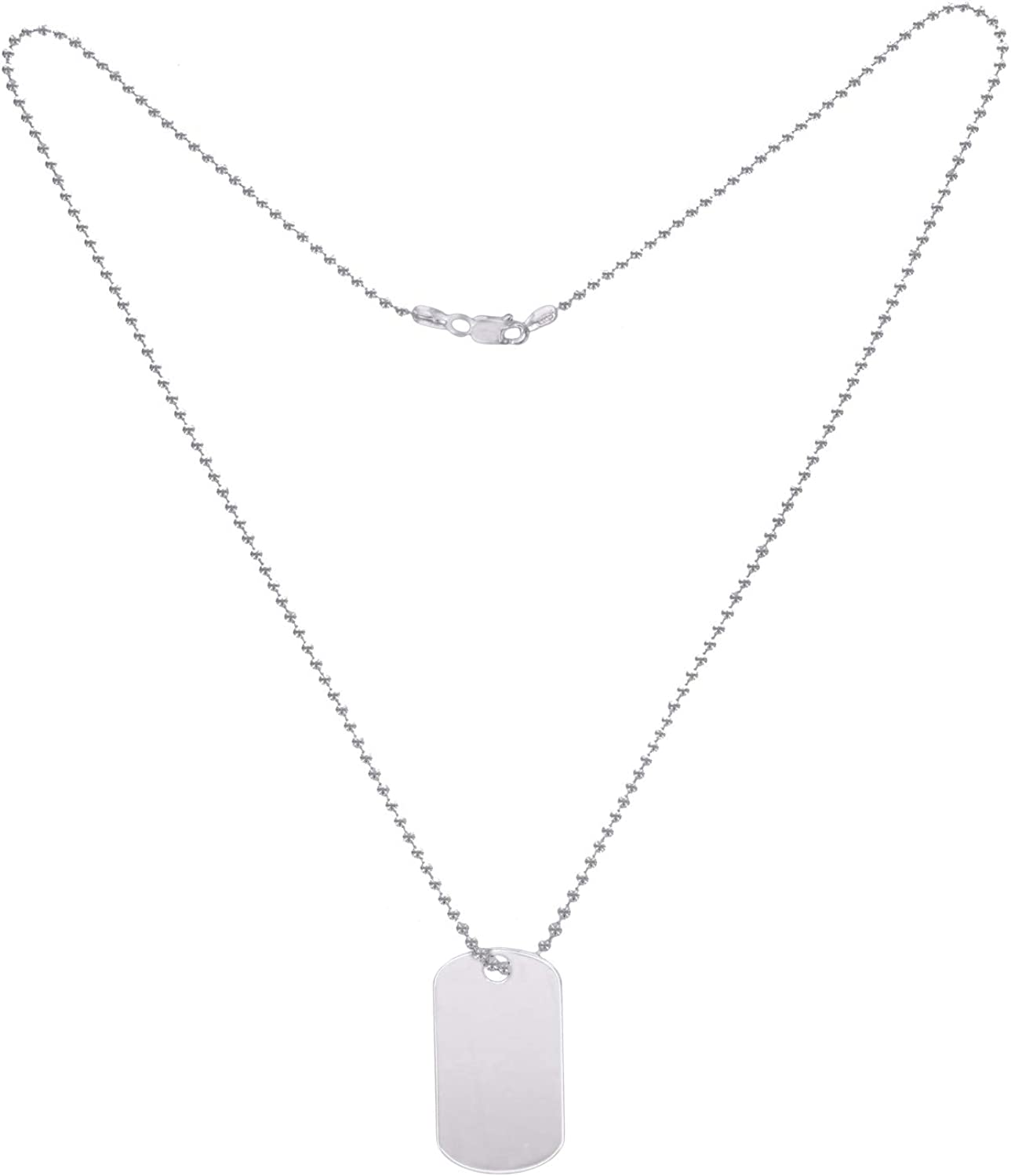 GEMOUR Collection Famous Design Platinum Plated Silver Engravable Dog Tag Necklace, 20 inches
