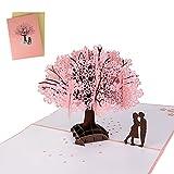 3D Tarjeta de Felicitación, Tarjeta de Felicitación de Tema de Flor de Cerezo Rosa, Tarjeta de Boda e Invitación con Sobre y Diseño en Relieve, para Cumpleaños, Bodas, San Valentín y Aniversarios