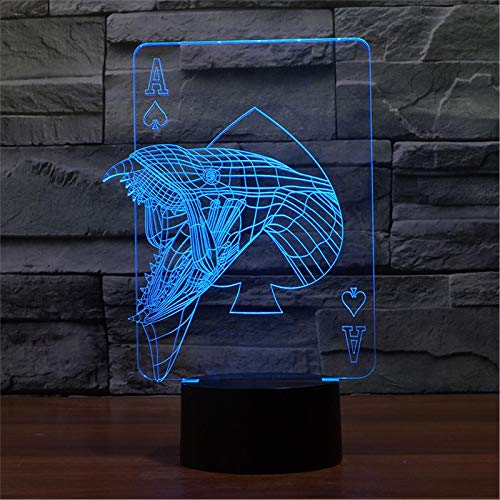 LBJZD luz de noche Serpiente 3D Luz De Noche Led Lámpara De Mesa Luminary 3D Luces De Noche Habitación Infantil Iluminación Decorativa Para Niños Gran Regalo Con Mando A Distancia