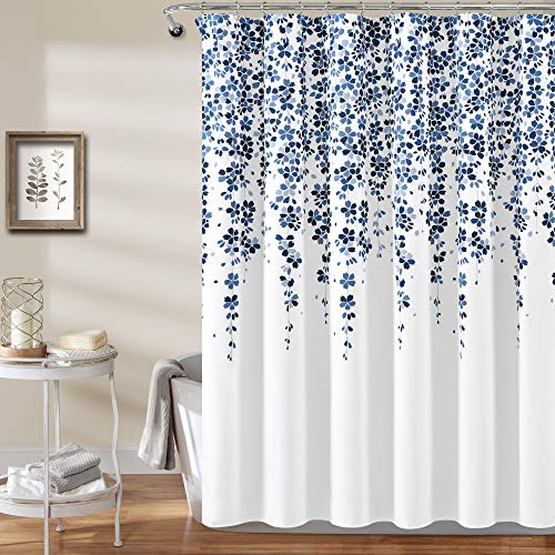 """Lush Decor Weeping Flower Shower Curtain - Fabric Floral Vine Print Design, 72"""" x 72"""", Navy and Blue"""