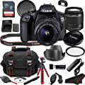 Canon EOS 1500D (Rebel T7) DSLR Camera Bundle + 18-55mm Lens | Built-in Wi-Fi|24.1 MP CMOS Sensor |DIGIC 4+ Image Processor and Full HD Videos + 64GB Memory (19pcs) by Canon Intl.