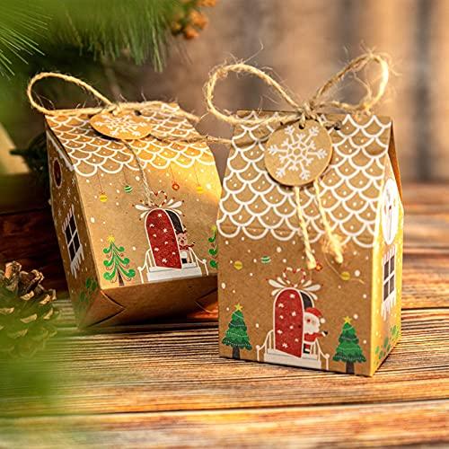 【BEAUTY PLAYER】ギフトボックス キャンディーボックス 24セット ステッカー、タグ、麻縄が付属しています クリスマス お菓子 ラッピング ギフトラッピング クリスマス プチギフト 個包装 クリスマス チョコレート クッキー キャンディーボック
